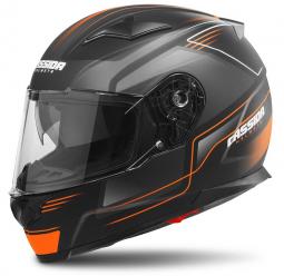 Moto prilba CASSIDA Apex Fusion čierno-oranžová matná