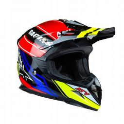 Detská moto prilba HORN ATV Junior Quad červená-žltá + brýle zdarma