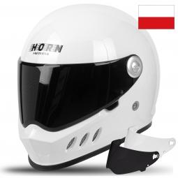 Moto prilba HORN H833/ WITHE VINTAGE + slunečná plexi