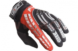 Detské motocyklové rukavice PIONEER červeno-čierne