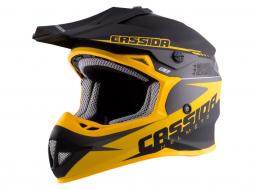 Detská moto prilba CASSIDA M140-867 čierna matná - žltá + okuliare a kukla zadarmo