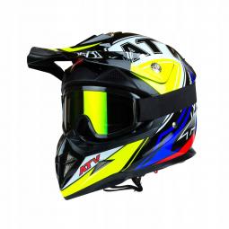 Detská moto prilba HORN ATV Junior Quad modrá-žltá + brýle zdarma